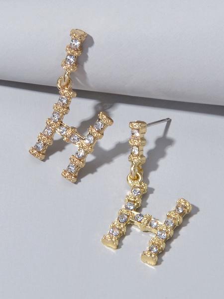Milanoo Dangle Earrings H Letter Shaped Women Jewelry