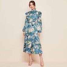 Kleid mit Stehkragen, Rueschen Detail, Laternenaermeln, Guertel und Blumen Muster