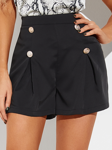 YOINS Black Pleated Front Button Shorts