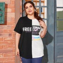 Gespleisstes T-Shirt mit sehr tief angesetzter Schulterpartie, Manschetten und Buchstaben Grafik