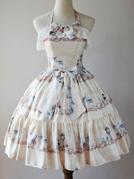 Milanoo Classic Lolita JSK Dress Wonderland Quartet Lace Print Ruffle Light Blue Lolita Jumper Skirt