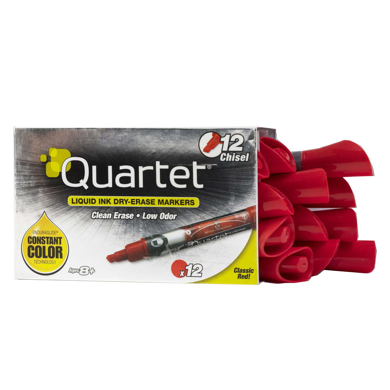 Quartet Liquid Ink Dry-Erase Markers Low Odor Box of 12 Red with Constant Color Technology - Red