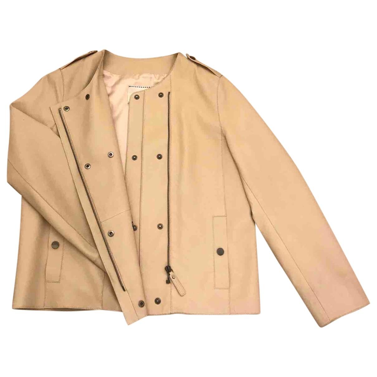 Longchamp - Veste   pour femme en cuir - rose