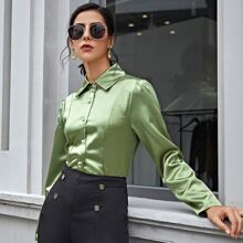 Solid Button Up Satin Blouse