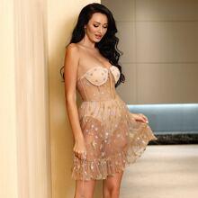 Star Print Ruffle Hem Mesh Tube Dress