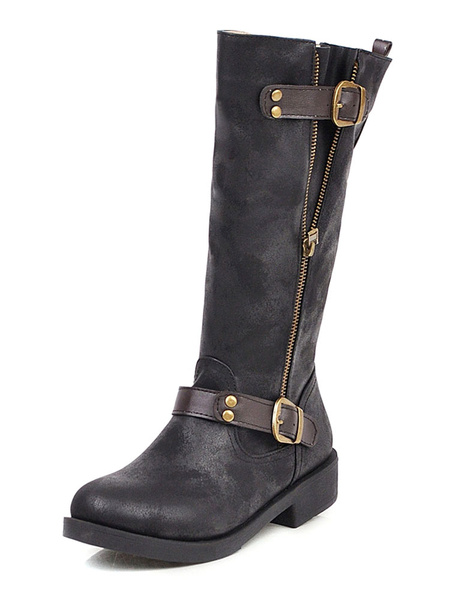 Milanoo Mid Calf Boots For Women Distressed Leather Round Toe Flat Boots