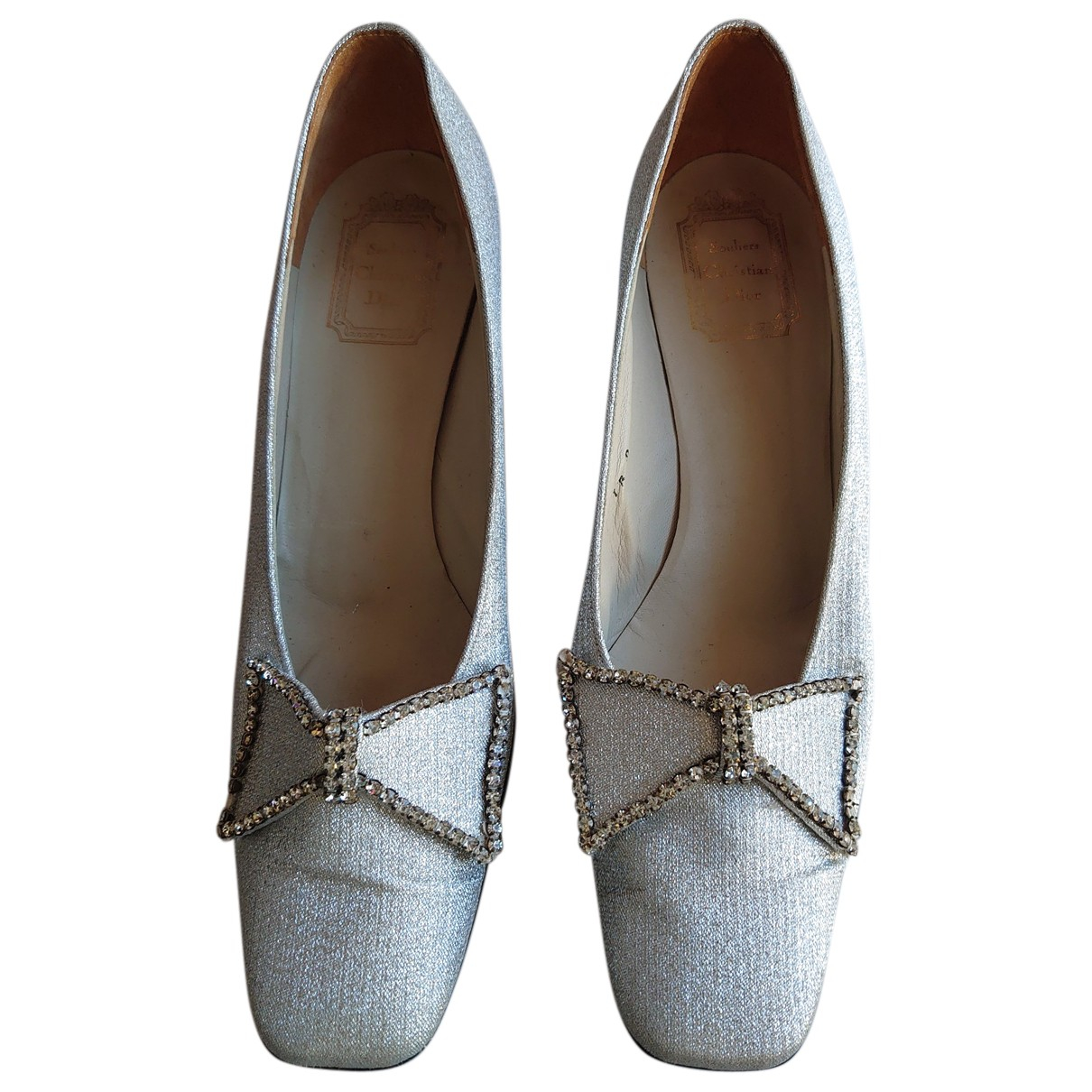 Dior N Silver Leather Heels for Women 39 EU