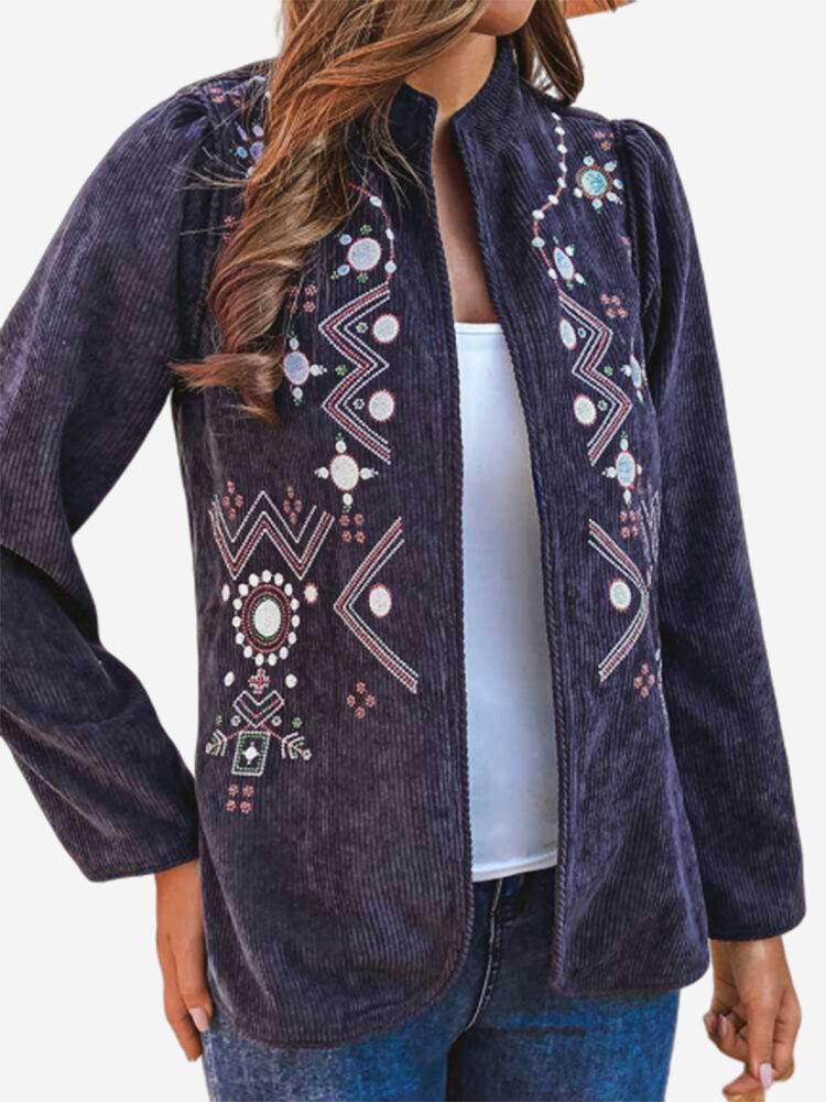 Corduroy Embroidered Stand Collar Long Sleeve Vintage Jacket