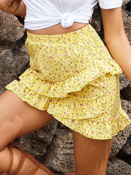 Yoins Ruffle Trim Calico Stretch Waistband Skirt