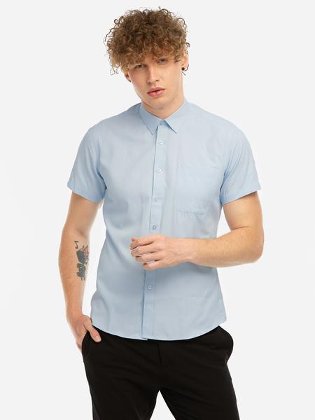 Yoins Light Blue Tight Single Breasted Design Classic Collar Short Sleeves Men's Dress Shirt