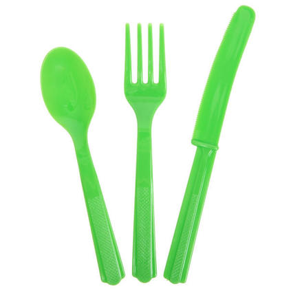 Party Plastic Assorted Cutlery Solid Color Lime Green 18Pcs