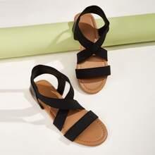 Sandalias con tira cruzada elastica