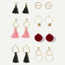 Tassel & Circle Hoop Drop Earrings 7pairs
