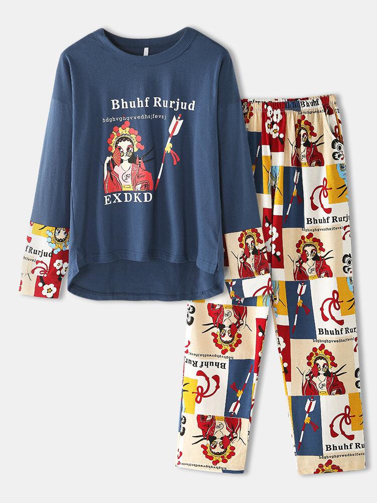 Women Cotton National Style Print Patchwork Round Neck Long Pajama Sets