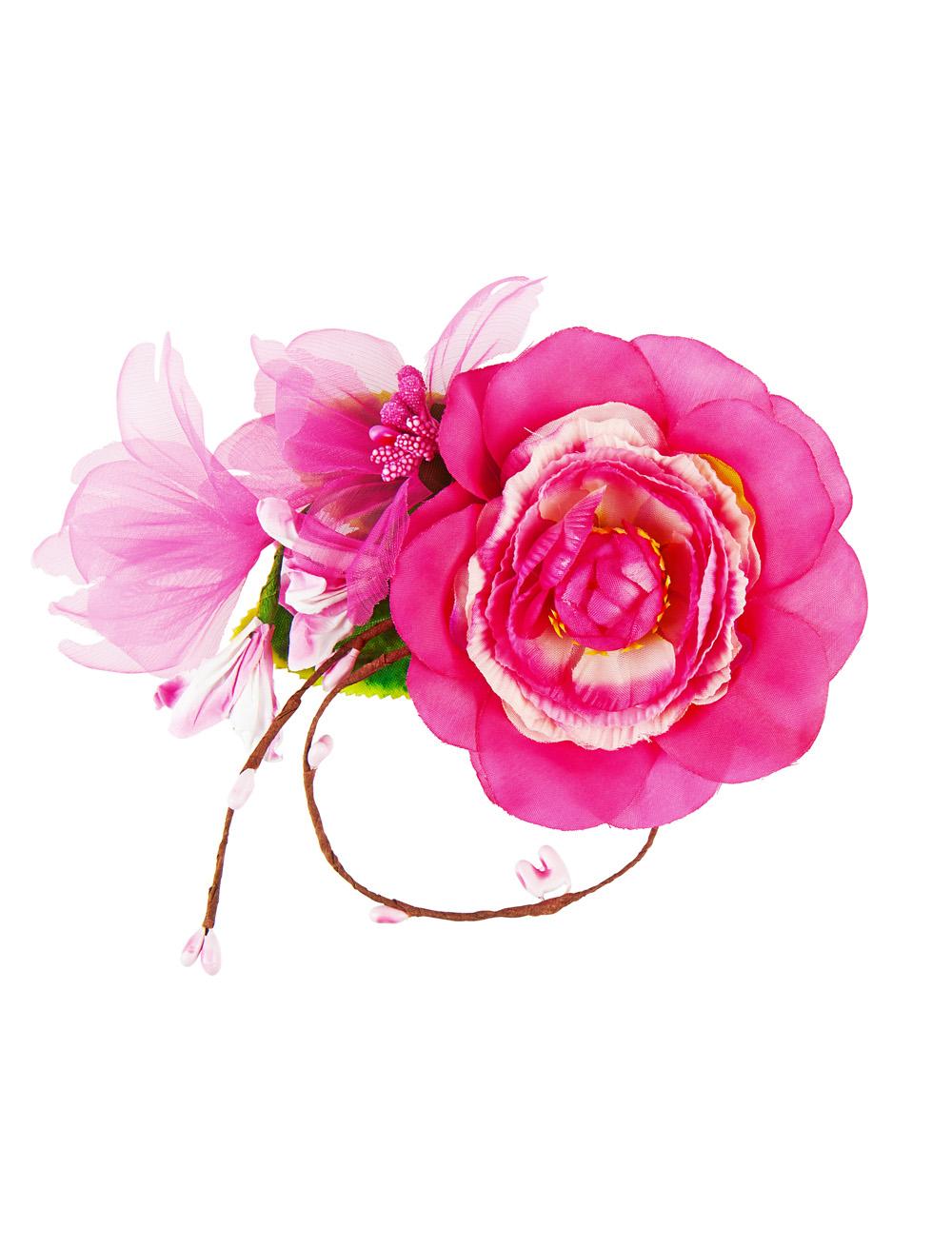 Kostuemzubehor Haarklammer Blume 10cm rosa