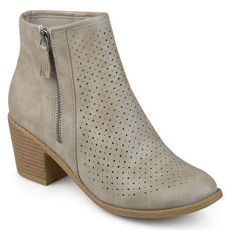 Journee Collection Womens Meleny Booties Stacked Heel, 6 1/2 Medium, Gray