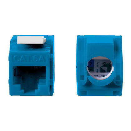 Cat6A RJ45 Toolless 180-Degree Keystone - Monoprice® - Blue