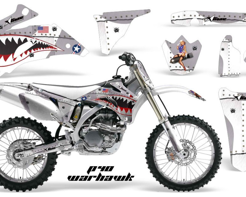 AMR Racing Graphics MX-NP-YAM-YZ250F-YZ450F-06-09-WH S Kit Decal Wrap + # Plates For Yamaha YZ250F YZ450F 2006-2009áWARHAWK SILVER