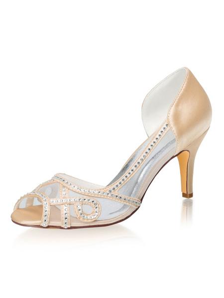 Milanoo Zapatos de fiesta de tacon alto para mujer Zapatos de noche con diamantes de imitacion de champan Peep Toe