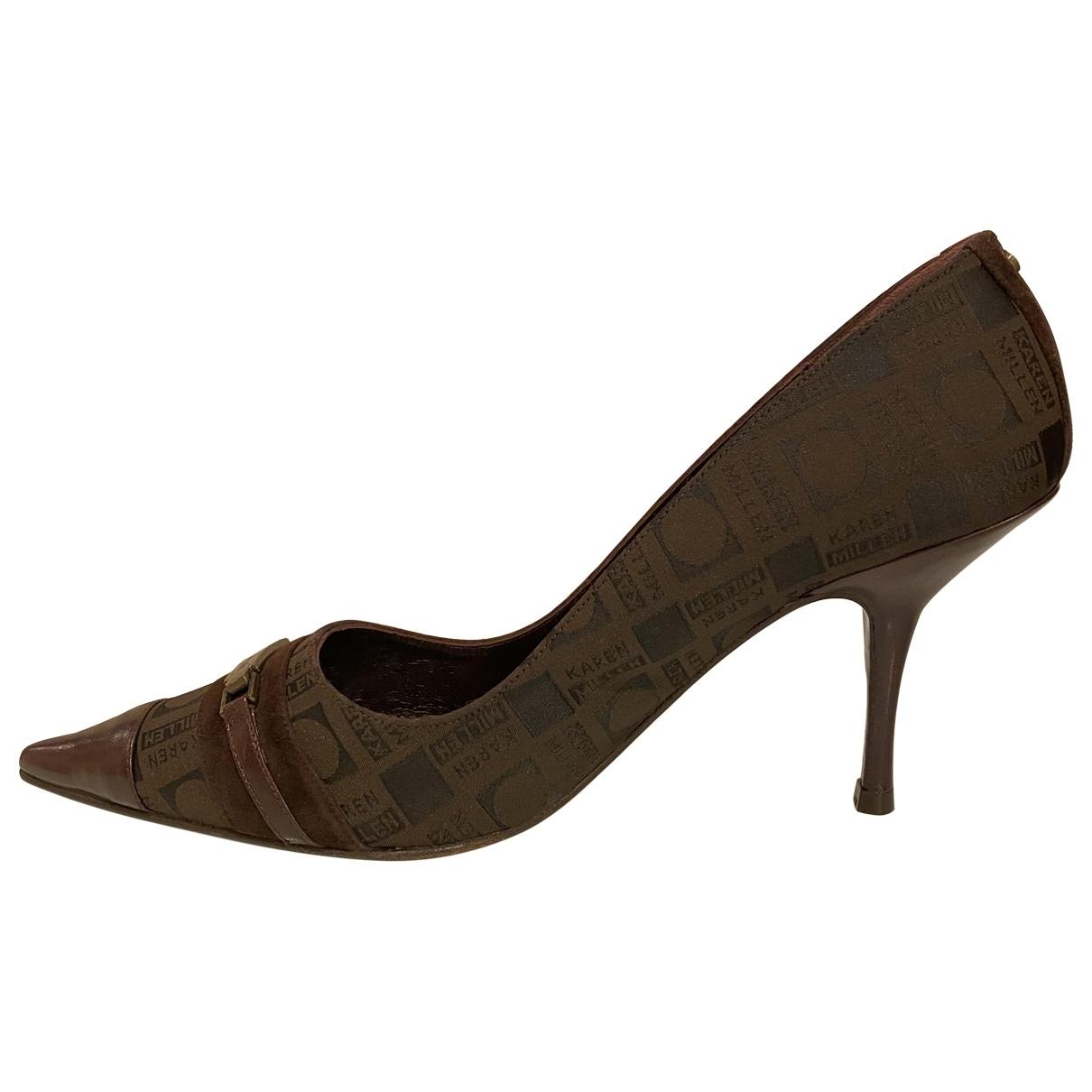 Karen Millen - Escarpins   pour femme en cuir - marron