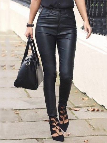 Yoins Black High-Waisted Faux Leather Leggings