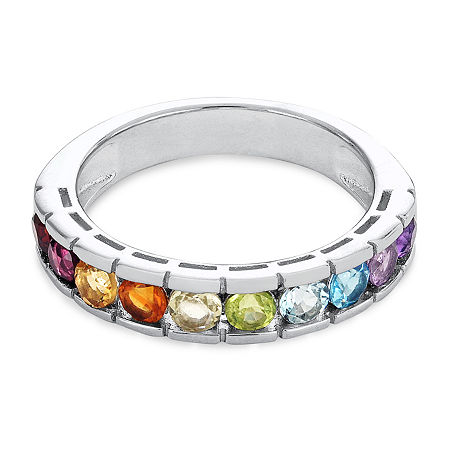 23.MM Genuine Multi Color Stone Sterling Silver Band, 9 , No Color Family