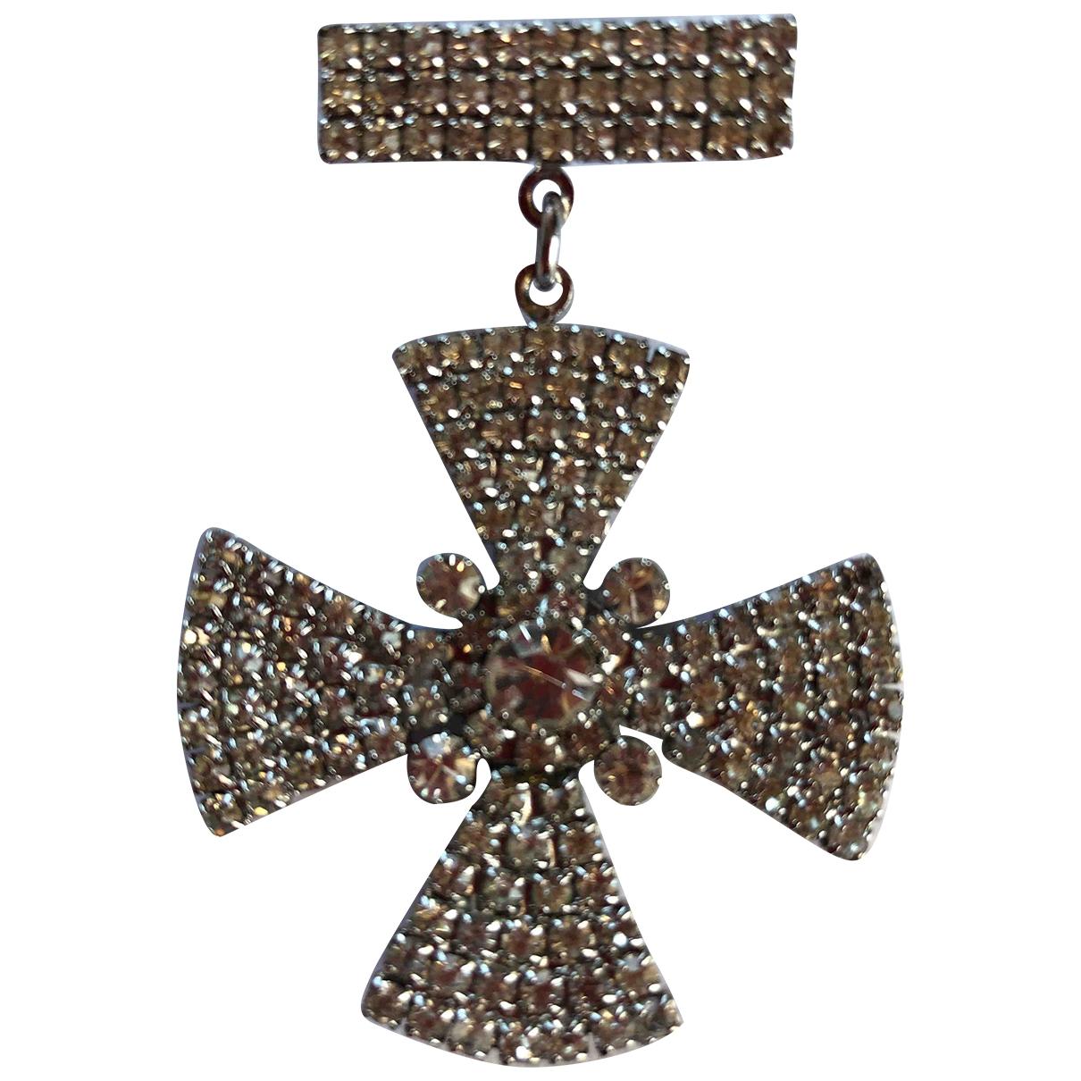 Broche Croix en Metal Blanco Non Signe / Unsigned