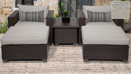 Belle Collection BELLE-05a-ASH 5-Piece Patio Set with 2 Ottomans  1 Coffee Table and 2 Club Chairs - Wheat and Ash