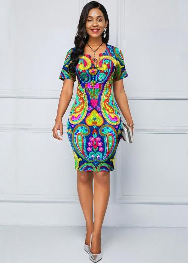 Women'S Multi Color Paisley Printed Spring Casual Dress Split Neck Short Sleeve Sheath Knee Length Work Dress By Rosewe - 18