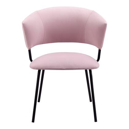 Isabella Collection EH-1110-33 Dining Chair with Metal Frame in Pink