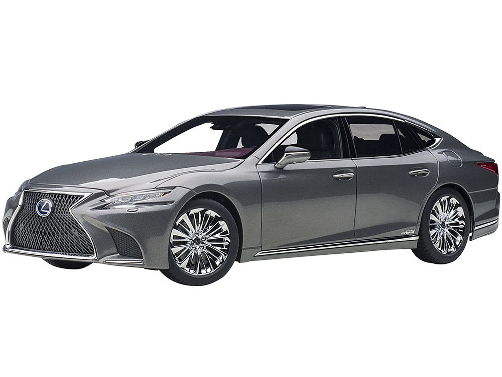 Lexus LS500h Manganese Luster Gray Metallic with Crimson and Black Interior 1/18 Model Car by Autoart