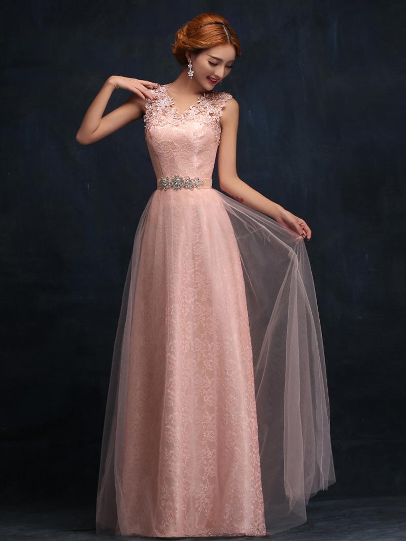 Ericdress V-Neck Lace Long Bridesmaid Dress