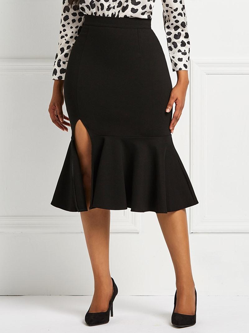 Ericdress Mermaid Plain Ruffles Split Women's Skirt