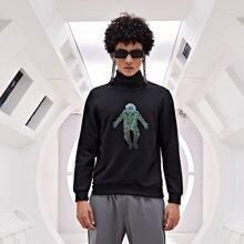 Sweatshirt mit Astronaut Muster und Rollkragen