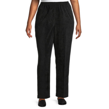 Alfred Dunner Womens Straight Corduroy Pant, 22w , Black