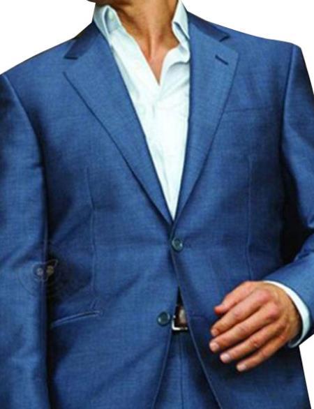 Men's 1 Button Single Breasted Blue Notch Lapel Slim Fit Suit