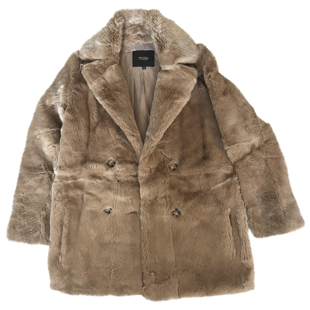 Maje - Manteau   pour femme en lapin - camel