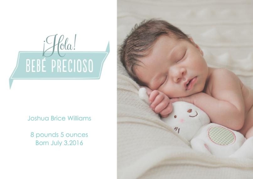 Newborn Flat Matte Photo Paper Cards with Envelopes, 5x7, Card & Stationery -Bebé precioso