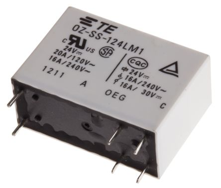 TE Connectivity , 24V dc Coil Non-Latching Relay SPNO, 16A Switching Current PCB Mount Single Pole