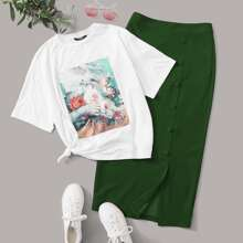 Figure Graphic Tee & Button Front Split Skirt Set