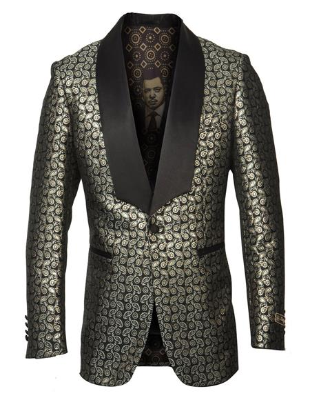 Mens Single Breasted Shawl Lapel Fancy Pattern Gold Blazer