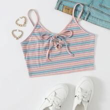 Lace Up Front Striped Cami