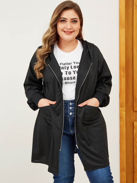 Yoins Plus Size Black Pullover Long Sleeves Coat