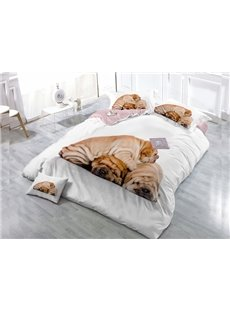 Three Cute Dogs Wear-resistant Breathable High Quality 60s Cotton 4-Piece 3D Bedding Sets