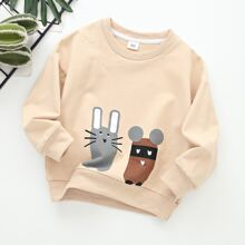 Toddler Boys Cartoon Graphic Drop Shoulder Sweatshirt
