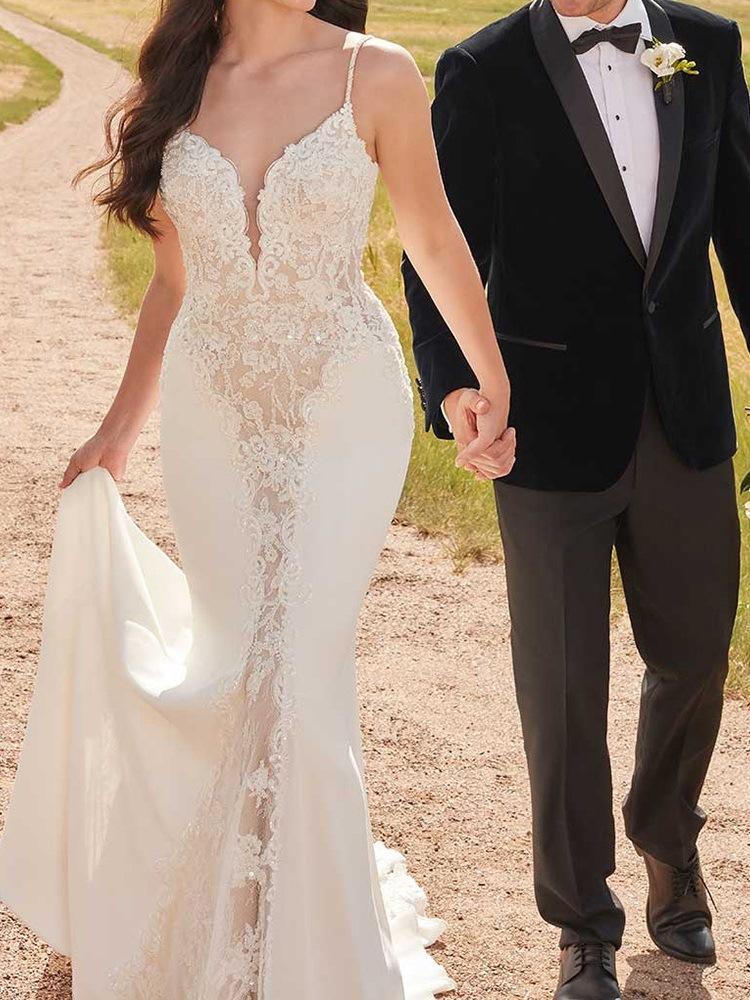 Ericdress Sleeveless Spaghetti Straps Mermaid Lace Wedding Dress 2020