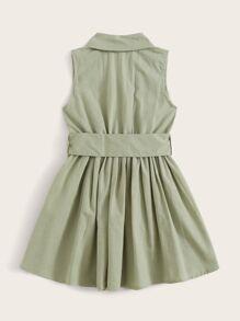 Toddler Girls Self Tie Flowy Hem Notched Shirt Dress
