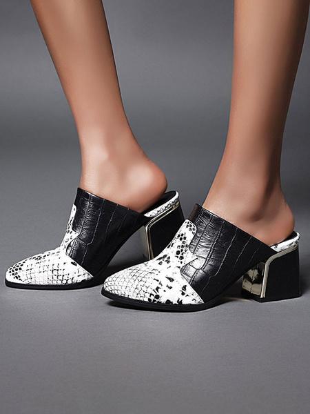 Milanoo Zapatos de tacon acampanado con estampado de serpiente y puntera en punta para mujer