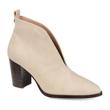 Journee Collection Womens Bellamy Stacked Heel Booties, 10 Medium, Gray