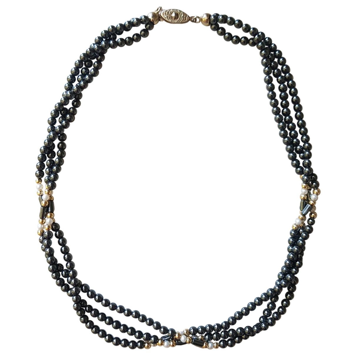 Non Signé / Unsigned \N Grey Pearls necklace for Women \N